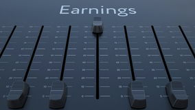 Sliding fader with earnings inscription. Conceptual 3D rendering Royalty Free Stock Photography