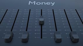 Sliding fader with money inscription. Conceptual 4K clip ProRes stock video