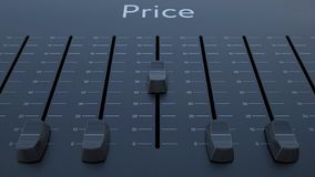Sliding fader with price inscription. Conceptual 4K clip ProRes stock video
