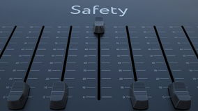Sliding fader with safety inscription. Conceptual 3D rendering Royalty Free Stock Photos