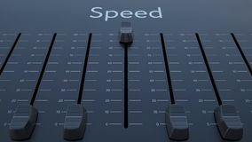 Sliding fader with speed inscription. Conceptual 3D rendering Stock Photos