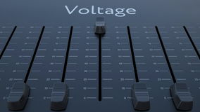 Sliding fader with voltage inscription. Conceptual 3D rendering Royalty Free Stock Photography
