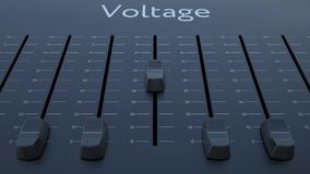 Sliding fader with voltage inscription. Conceptual 4K clip ProRes stock video footage