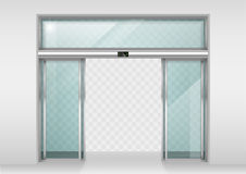 Sliding glass automatic doors. Double sliding glass doors with automatic motion sensor. Entrance to the office, train station, supermarket royalty free illustration