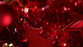 Sliding over beautiful red christmas decorations stock video footage