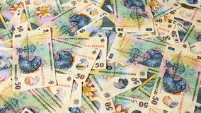 Sliding over romanian currency layer stock video footage
