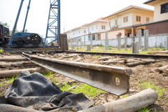Sliding rail for pile driver Royalty Free Stock Images