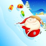 Sliding Santa Royalty Free Stock Photos