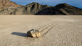 Sliding Stones On Dry Lake in Racetrack playa Stock Photography