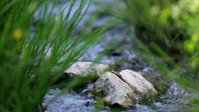 Sliding on water stream running through rocks