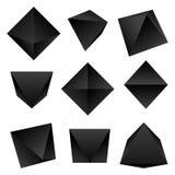 Sólidos platónicos brillantes del vector fijados Foto de archivo libre de regalías