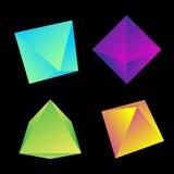 Sólidos platónicos brillantes del vector fijados Imagen de archivo