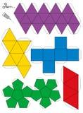 Sólidos platónicos Template modelo de papel Imagen de archivo