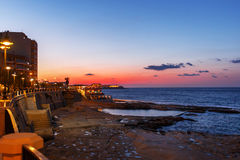 Slieama coast in blue hour after sunset, Malta Stock Photo