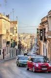 Sliema,马耳他老市中央街道晴天 库存照片