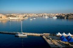 Sliema beachfront. Malta. View to the Sliema bay from Valetta. Malta Stock Photos