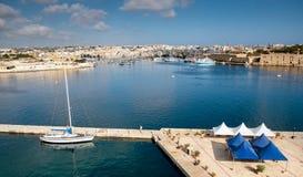 Sliema beachfront. Malta. View to the Sliema bay from Valetta. Malta Royalty Free Stock Images