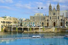 Sliema cathedral and waterfront, Malta Royalty Free Stock Photography