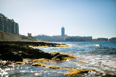 Sliema coastline. And blue sky Stock Photos
