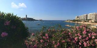 Sliema coastline, Malta. Coastline in Sliema, one of the most favourite towns in Malta island Royalty Free Stock Image