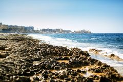 Sliema coastline in Malta. Sliema coastline and blue sky and water Royalty Free Stock Photo