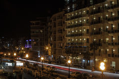 Sliema di notte Fotografie Stock