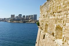 Sliema from the Fort of Valletta. View of the modern quarter of Sliema from the Fort of Valletta. Tas-Sliema is a town located on the northeast coast of Malta Royalty Free Stock Photography