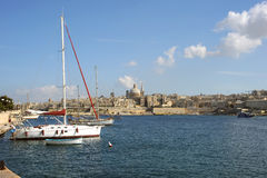 Sliema Harbor and Valetta, Malta. Stock Image