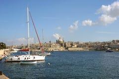 Sliema Harbor and Valetta, Malta. stock image