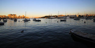 Sliema harbour at the sunset Royalty Free Stock Photo