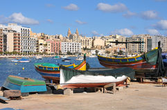 Sliema, Malta. Sliema in the background with fisherman's wharf in the foreground Royalty Free Stock Photos