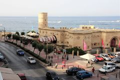 Sliema, Malta, July 2014. Fort on the coast, turned into an entertainment center. royalty free stock photo