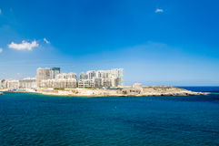 Sliema, Malta - May 9, 2017: View for the Fort Tigne and modern building at Sliema city in Malta. View for the Fort Tigne and modern building at Sliema city in Stock Images