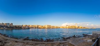 Sliema, Malta - Panoramic skyline view of Sliema at golden hour. In the morning Royalty Free Stock Images