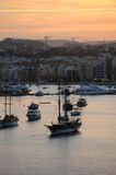 Sliema and Marsamxett Harbour winter sunset Royalty Free Stock Images