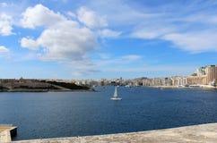 Sliema, promenade, la mer Méditerranée, République de Malte Image stock