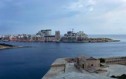 Sliema skyline, Malta. Panoramic view of Sliema and Marsamxett harbour from Valletta city walls, Malta stock images