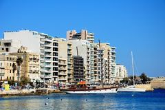 Sliema waterfront and harbour, Malta. Royalty Free Stock Photos