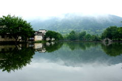 Slient lakeside in Hongcun village Royalty Free Stock Images