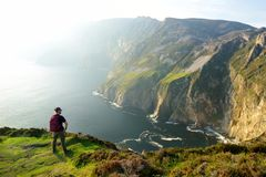 Slieve League, Irelands highest sea cliffs, located in south west Donegal along this magnificent costal driving route. One of the most popular stops at Wild stock photo