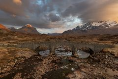 Sligachan bridge with Cuillins Hills on isle of Skye, Scotland stock photography