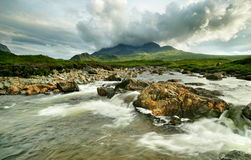 Sligachan River. Isle of Skye, Scotland - view of the Black Cuillins Royalty Free Stock Image