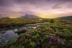 Sligachan river, Scotland. Colorful sunset over the Scottish Higlands, river Sligachan, Scotland