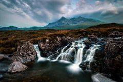 Sligachan Waterfall United Kingdom stock photo