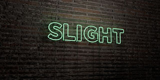 SLIGHT -Realistic Neon Sign on Brick Wall background - 3D rendered royalty free stock image Stock Photography
