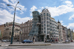 Slightly busy street shot in front of the Dancing House at Czech Republic Royalty Free Stock Photos