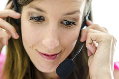 Slightly concerned call center employee Stock Photos