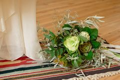 Slightly disheveled fresh and airy bridal bouquet with veronica and eucalyptus will be a great addition to the image of a stylish. Bride, boho, wedding, floral stock images