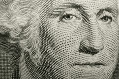Gilbert Stuart`s portrait of American founding father, George Washington, from US one dollar bill. stock photo