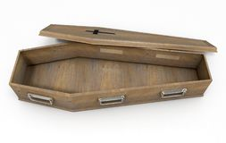 Open Coffin And Crucifix. A slightly open empty wooden coffin with a metal crucifix and handles on an isolated white studio background - 3D Render royalty free illustration